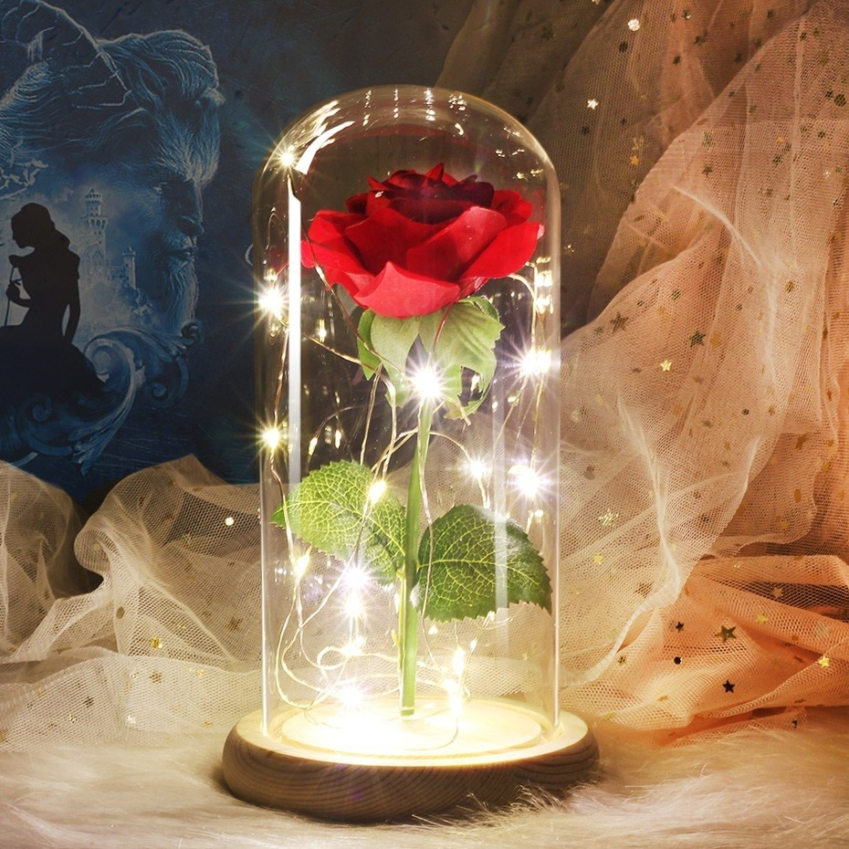 Artificial Flowers Beauty And Beast Eternal Flower Rose Valentines Day Gift With Wedding Decoration Rose In Flask Glass Dome For Shopyaho